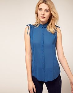 French Connection Shirt With Tie Shoulder Detail