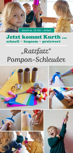 Pompon-spin - What shouldn& be missing at Carnival? Of course, lots of colorful party fun. Games For Kids, Diy For Kids, Pom Pon, Advantages Of Watermelon, Work Gloves, Colorful Party, Disaster Preparedness, Slingshot, Best Part Of Me