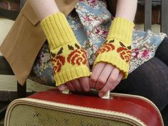 Women's Floral Yellow and Brown Fingerless Gloves, Short Arm Warmers, Wrist Warmers, Knit in Luxury Lambswool - READY TO SHIP. £33.00, via Etsy.
