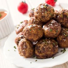 This grass-fed beef meatball recipe is simple to make. They freeze well, so make a big batch and keep some on hand for future meals. These beef meatballs taste great. Glazed Meatballs Recipe, Beef Meatball Recipe, Swedish Meatball Recipes, Copycat Recipes, Beef Recipes, Real Food Recipes, Cooking Recipes, Yummy Food, Ranch Dip