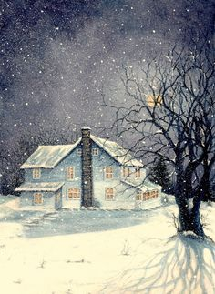 """ Winter's Silent night "". Watercolor painting by the artist Janine Riley. Prints available to purchase at FineArtamerica.  old, Country, white,  house, home, old house, farmhouse, winter, snowing, moonlight, moonlit, night, nighttime, tree, trees, bare, silhouette , shadows, watercolors, paintings, Art"