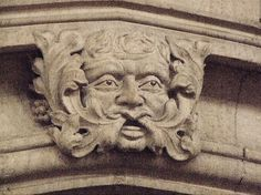 Green Man on the Town Hall, Burton-on-Trent, Staffordshire, England (photo Mervyn W. Mystical World, Tree People, The Revenant, Man Images, World Religions, Animal Heads, Gothic Art, Best Beer, Man Photo