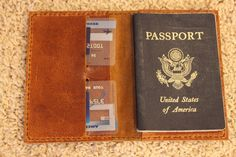 Groomsman Gift: Leather Passport holder. Discount on 2 or more & free monogram. Hand-made in USA Choice of leather.
