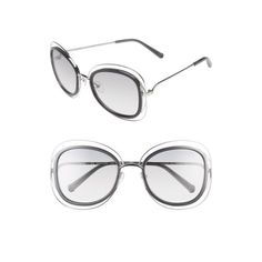 7b94e5968cc4 Chloè Silver  Carlina  56mm Gradient Sunglasses Worn Once Case Not Included.