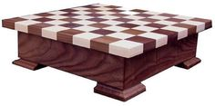 Amish Walnut and Maple Wood Checker and Chess Set with Storage Wow the family with a luxurious, solid wood checker and chess set. Storage ensures pieces won't get lost. #chess #checkers #boardgames