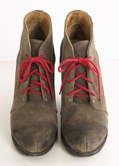 Rag & Bone Boots // distressed leather patina, raw, I like the pop of colour in the laces... good idea to try...
