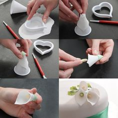 Details about Cake Decor Tool Sugar Fondant Gum Paste Icing Calla Lily Flower Cutter Mold HOT - Cake ideas 🎂 Cake Decorating Techniques, Cake Decorating Tutorials, Decorating Ideas, Cake Icing, Fondant Cakes, Fondant Figures, White Fondant Cake, Fondant Owl, Black Fondant