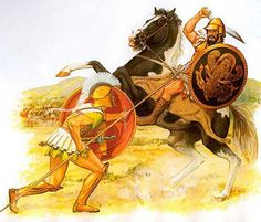 Hoplite battles a Thessalian cavalryman. Illustration by Peter Connolly