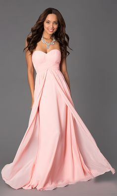 Strapless Pleated Bodice Sweetheart Neck Blush Bridesmaid Gown