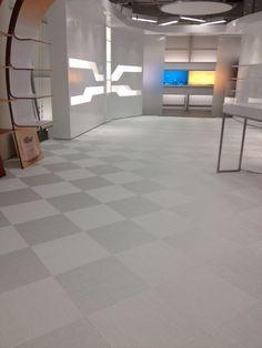 Chroma white, woven vinyl flooring