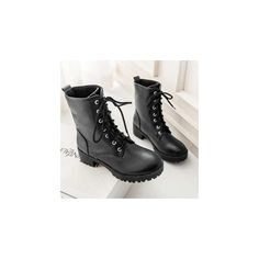 Faux-Leather Lace-Up Short Boots (83 AUD) ❤ liked on Polyvore featuring shoes, boots, ankle booties, footware, ankle boots, black leather lace up booties, short boots, black bootie boots and mid heel booties