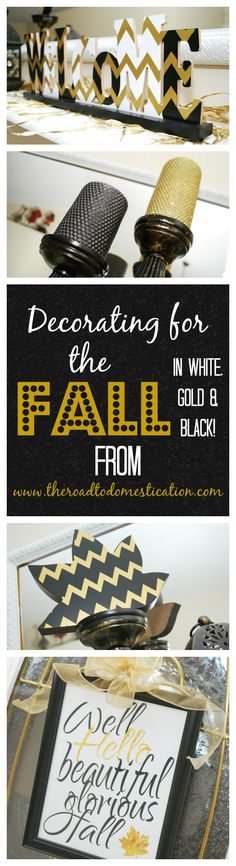 Love the white, gold and black color combination? Use it for Fall!