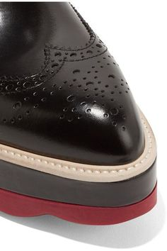 Prada - Leather Platform Brogues - Black - IT39.5