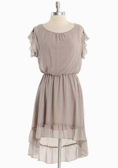 """Forever Dreaming Ruffle Dress 42.99 at shopruche.com. Sweetly sophisticated, this taupe dress features a delicate semi-sheer chiffon overlay with soft ruffles for interest. Finished with an asymmetrical hemline, a back button keyhole closure, and an elasticized waistline. Fully lined.  100% Polyester, Made in USA, 35"""" length from top of shoulders"""