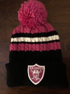 a4a87b50f96 Oakland Raiders NFL Knit Pom Beanie (Pink Black) Women s Raiders Winter Cap   fashion  clothing  shoes  accessories  womensaccessories  hats (ebay link)