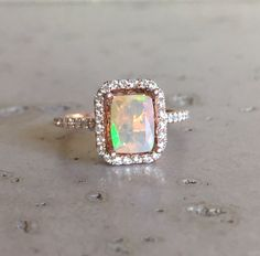 Emerald Cut Opal Engagement Ring- Rose Gold Fire Opal Promise Ring- Halo Diamond Opal Ring- Solitaire Genuine Natural Opal Ring