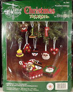 Bucilla Christmas Tree Favorites 18 Ornaments Kit Plastic Canvas Santa Heart
