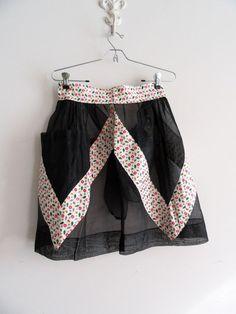 Vintage Half Apron Sheer Black with Large Pocket and Print Fabric #vintageApron #halfApron #vintageKitchen #vintageTextiles