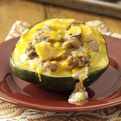 Sausage & Mushroom Stuffed Squash Recipe from Taste of Home -- shared by Eliane Oneyear of River Forest, Illinois