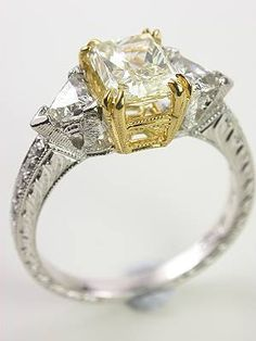 yellow radiant cut diamond engagement ring