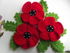 .Listing is for 3 crochet flowers and 3 leaves in shades . Each flowers is 5.5 cm.  Leaves size:5x2 cm.  Please condact me for any custom orders you wish to create. .Decorate a bag,adorn clothing, beautiful sewn onablanket ,embellish a hat in shades . Shipping time is between 5-15 days.    Thank you for visiting our shop. Have a nice shopping. Ships from Turkey.