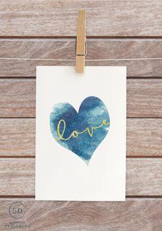 free Blue Heart Love Printable