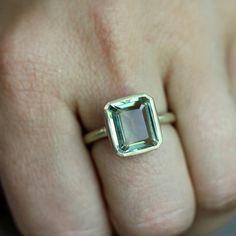 Emerald Cut Green Amethyst Ring Prasiolite Ring by onegarnetgirl, $898.00