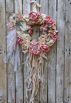 Shabby  Chic French Cottage Chic Wreath, Pink Rose Wreath, Shabby Wall Decor, Elegant Victorian Wreath, Wedding Wreath, Tea Roses Decor French Cottage, Cottage Chic, French Country, Cottage Farmhouse, Cottage Living, Cottage Style, Farmhouse Style, Living Room, Pearl Necklace Vintage