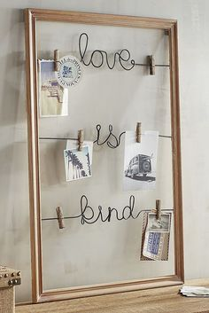Pier 1's charmingly rustic Love is Kind Clip Frame Wall Photo Holder is the perfect place to clip encouraging notes, quotes, dreams, goals and a few photos of the things you love most for inspiration to be kind.