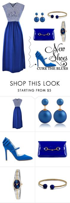 """""""#66 - bluer than blue"""" by simplyamber04 ❤ liked on Polyvore featuring WALL, Gucci, Pulsar, David Yurman and New"""