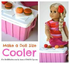 """Anna here! Where ever your dolls are off to on """"vacation"""", they can pack a picnic in this doll size cooler! It is made simply from a small cardboard box and craft foam. It looks like …"""