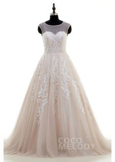 New Arrival A-Line Illusion Natural Court Train Tulle and Lace Champagne…
