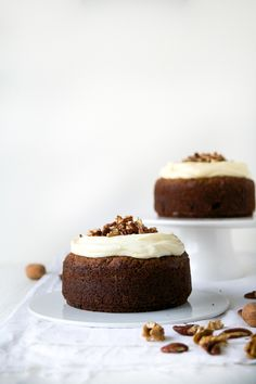 carrot cake with cream cheese frosting, pecans & walnuts