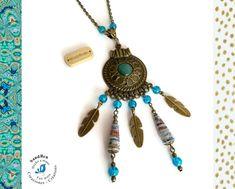 Sautoir Bohème Long Collier Boho Ethnique Perles Artisanales Bleues Perles en Papier Plumes Cabochon Bronze Cadeau Femme Saint Valentin Fêtes des Mères