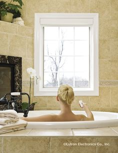 Lower your shades with just a touch of a button and enjoy the privacy of your own bathroom. Honeycomb Shades, Roller Shades, Room Set, Smart Home, Luxury Living, Light Decorations, Window Treatments, Bathroom Lighting, Touch