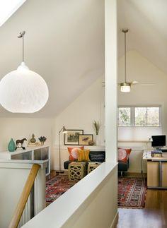 attic - A-frame; fun white ball light; bright :)