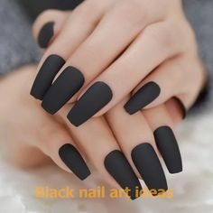 20 Best Matte Black Coffin Nails Design Ideas To Try This Year - Page 3 of 20 - Babemar Vogue Dark Color Nails, Dark Nails, Nail Colors, Gel Nails, Dark Acrylic Nails, Black Coffin Nails, Matte Black Nails, Black Nail Art, Black Nail Designs