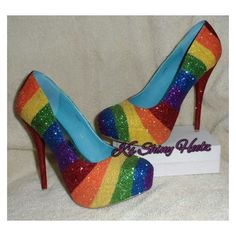 somewhere over the rainbow heels (insert music) Rainbow Heels, Rainbow Outfit, Rainbow Fashion, Crazy Shoes, Me Too Shoes, Lgbt, Muses Shoes, Nylons, Glitter Heels