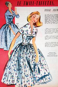 "fashion article from vintage 1950s French ""L'Echo de la Mode"" magazine"