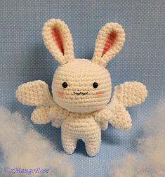 Cute angel bunny with wings crochet pattern.