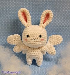 Cute angel bunny with wings crochet pattern.