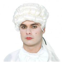 Peluca blanca de Época con coleta. Ideal para Carnaval o Representaciones teatrales.