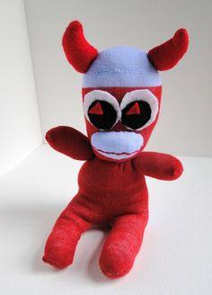 halloween sock monkeys | Sale Red Devil Sock Monkey Animal Halloween - Folksy