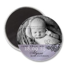 Purple Floral Paisley Black Baby Girl or Boy Gender Neutral Modern Photo Birth Announcement Magnet by fatfatin