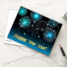 SOLD Postcard Happy New Year! http://www.zazzle.com/postcard_happy_new_year-239438864860302531 #Zazzle #Postcard #HappyNewYear #2017 #Fireworks #happy #holidays #blue #gold
