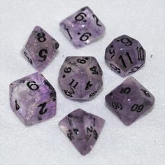 Dice made out of dice   Set of Amethyst Stone Dice (12mm) - Game Master Dice