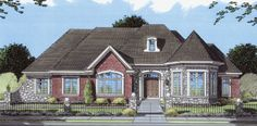 Expansive windows with transoms create a light and airy atmosphere in this European style home.  European House Plan # 161100.