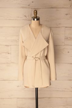 Pleven Cream - Beige wrap jacket www.1861.ca