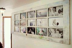 Old door repurposed as photo frame... Good for a hallway or bonus room
