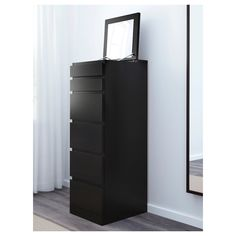 MALM Chest of 6 drawers - black-brown, mirror glass - IKEA Drawer Unit, Malm, Ikea, Tall Cabinet Storage, Glass Mirror, Brown Mirror, Closet Organization Bins, Simple Closet, 6 Drawer Tall Dresser